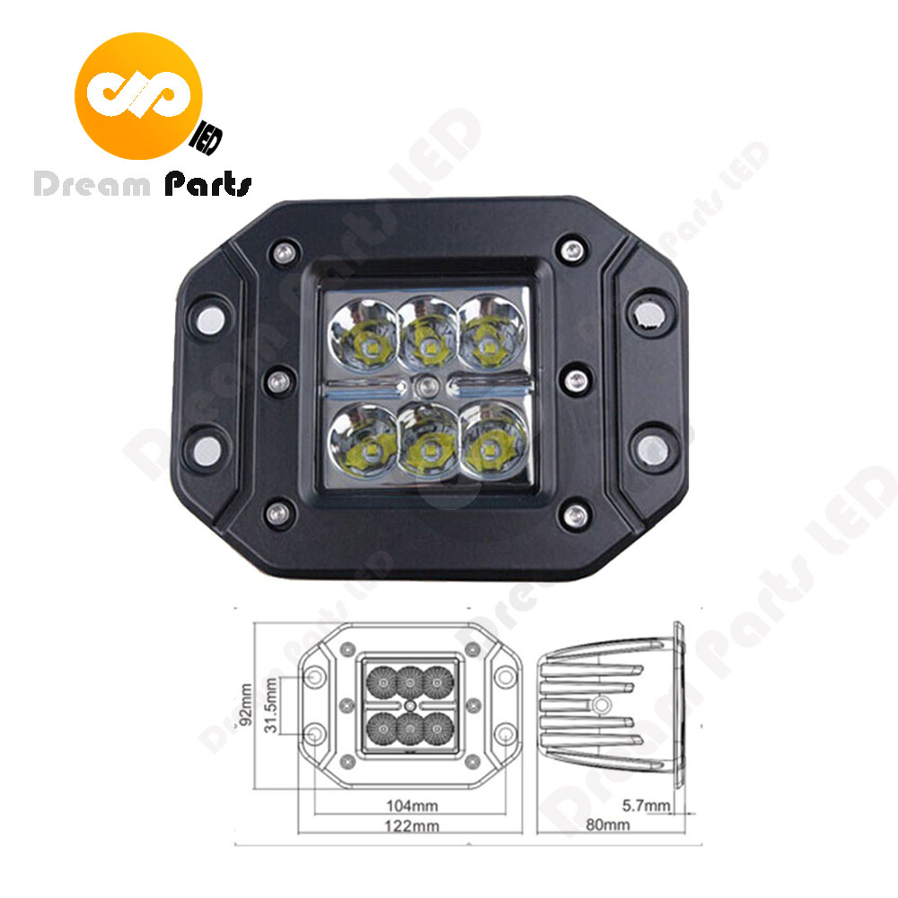 High Quality 3inch 18w flush mount led work light for 4x4 offroad