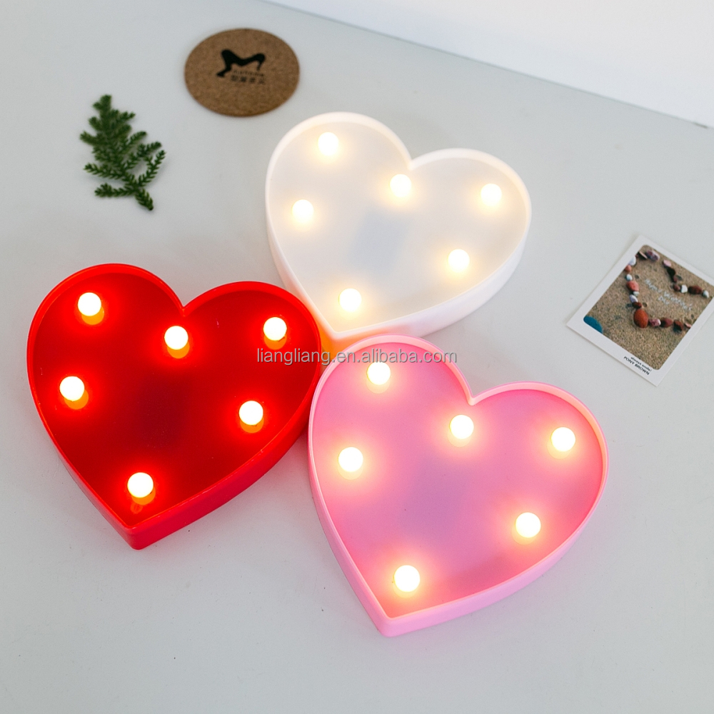 Plastic heart sign, wholesale hot selling led marquee light new products 2017 innovative product