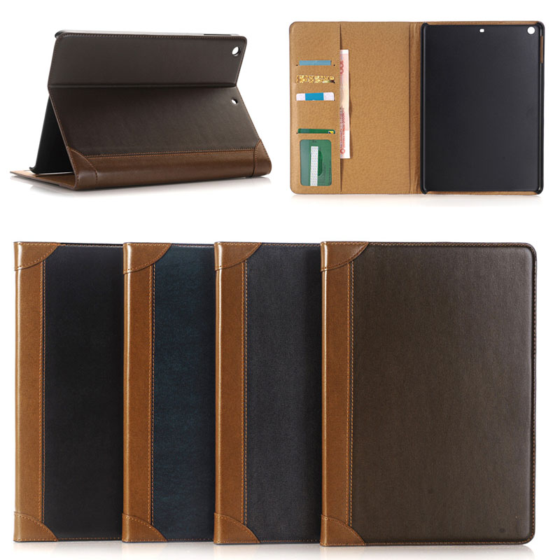 For ipad protective leather covers, for ipad book style leather case 9.7