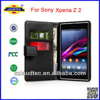 Highe quality wallet card holder Leather Case For Sony Xperia Z2