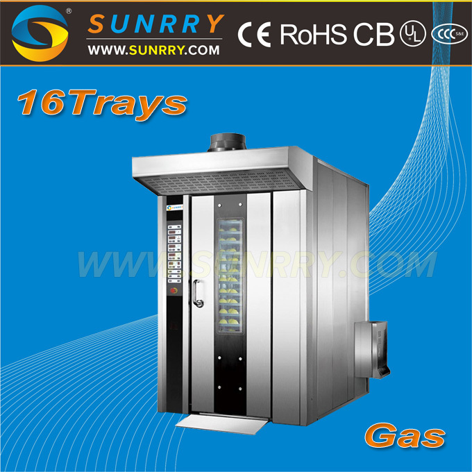 China supplier full automatic gas 16 trays mini baking loaf bread rotary oven used for food production