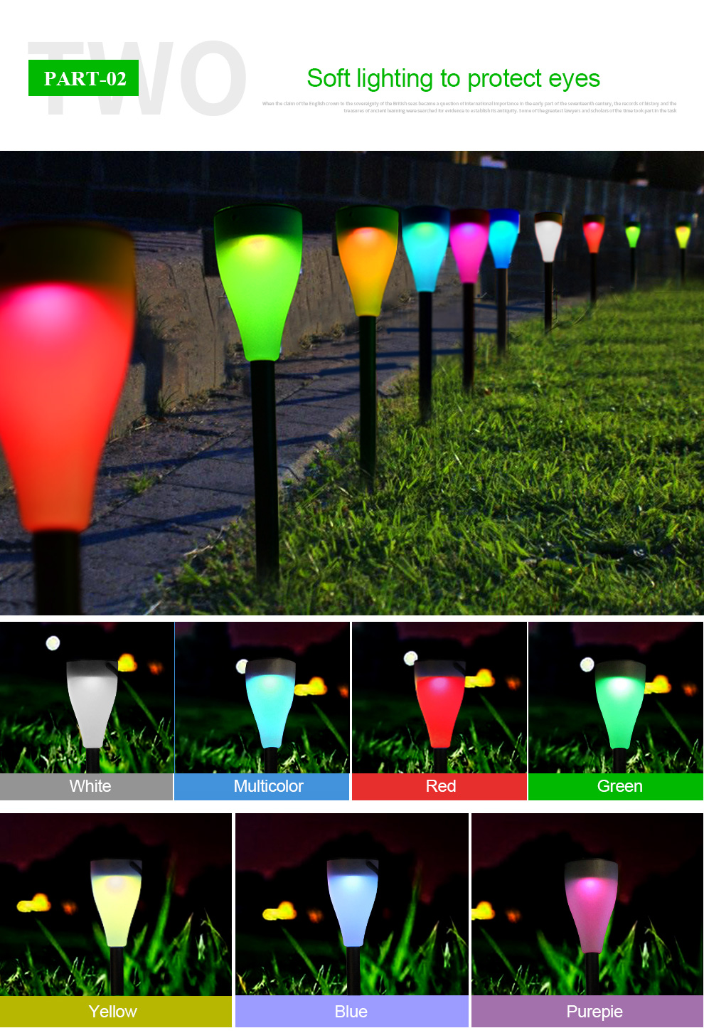 Intelamp 7 color Changing Solar lawn light Solar Garden Stick Light for decorate garden/patio