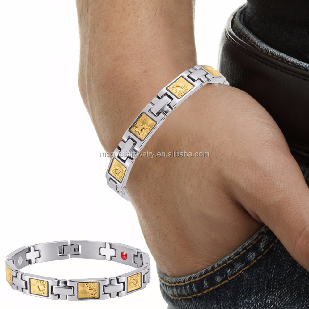 Buddha 4 in 1 Germanium Ion FIR Magnetic Gold Leaf Stainless Stel Bracelet
