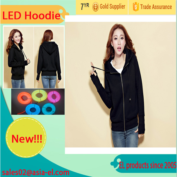 HOT!!!New fashion Light Up EL Wire Hoodies for unix