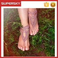 C705 crochet yoga shoes wedding bridesmaid knitted barefoot sandles crochet thong sandals