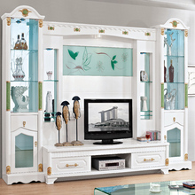 Foshan led lcd tv wall unit design cabinet with showcase living room furniture for hall