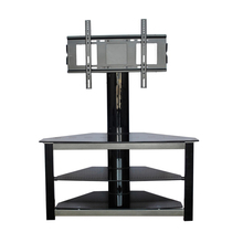 simple style black tempered glass with top tv stand design