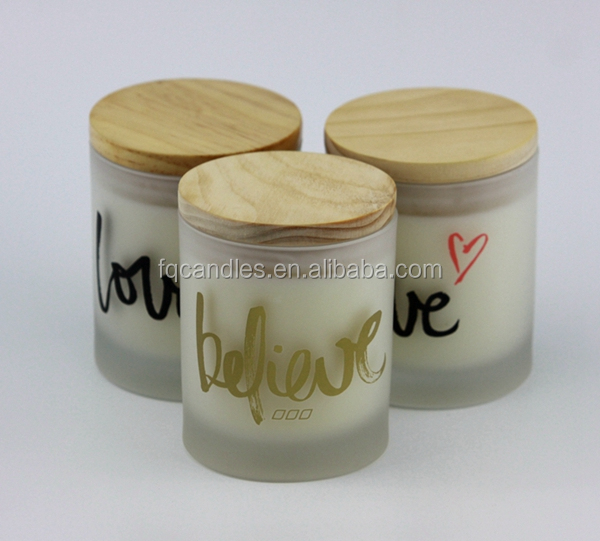 2016 wholesale luxury scented soy candle in printed glass jar with wood lid