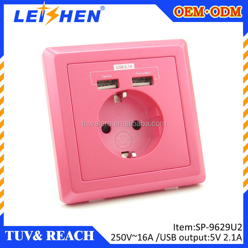 Electrical outlet schuko 230V usb wall socket usb europe for house appliance