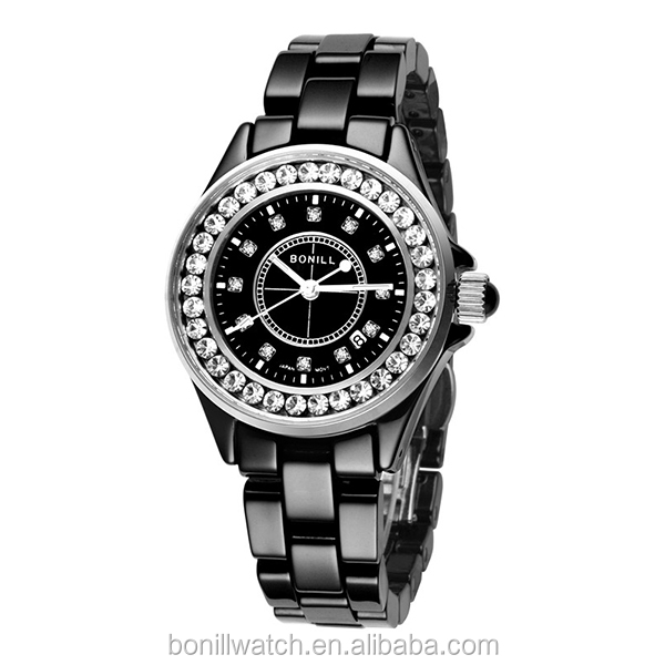 Promotional Wristwatches,Luxury Black Fashion Ceramic Watch,Women Gift Watch