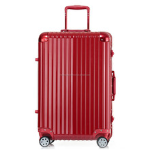 "28"" Pvc Suitcase , Luxury Leisure Striped Trolley Luggage"