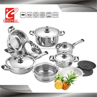 16pcs china thermometer induction based stainless steel cookware set