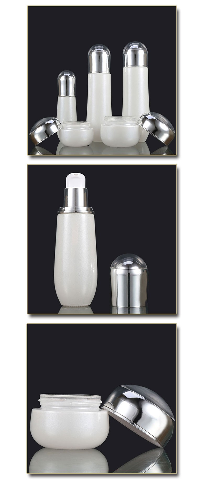 Wholesale glass bowling shape 100Ml 120Ml Luxury Cosmetic Packaging bottle and Cream Jar