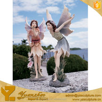 garden life size fiberglass fairies sculpture for sale