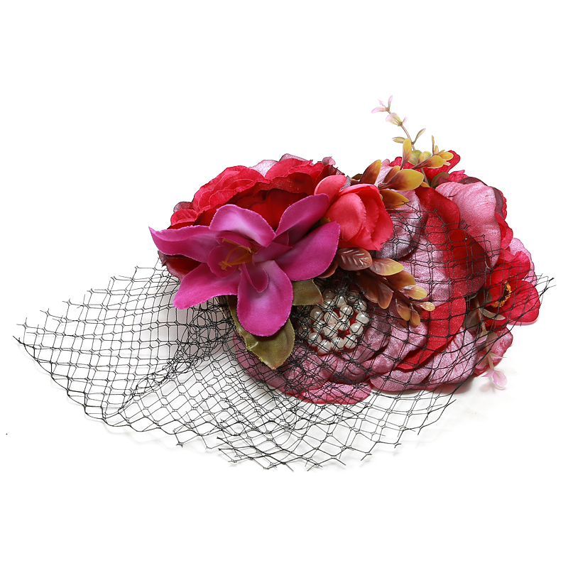 Women Vintage Fascinator Hat Hair Accessory Flower Veil Pearl Hair Clip Headwear for Party Wedding Ladies Mini Fedora Floral Hat