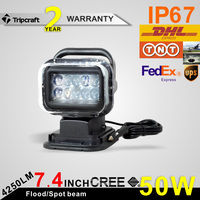 "Wholesale 50w 7"" Super bright good quailty outdoor 50w led search light 12v/24v DC 35w/55w led search light"
