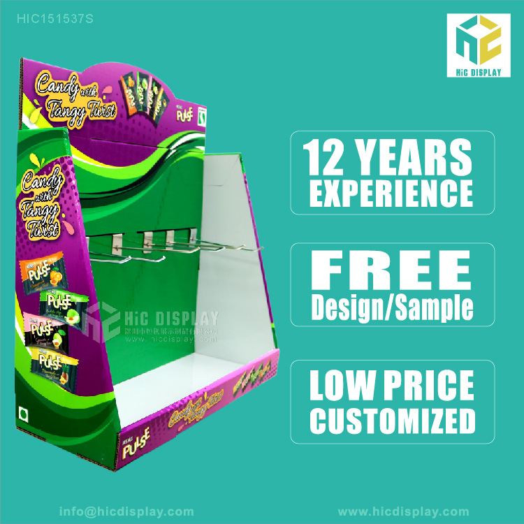 Custom Printing Cardboard Counter Display Stand For Candy