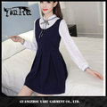 New design bowknot long sleeve hot style lady pleated dress with stand collar