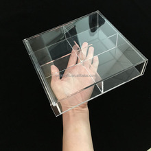 Customized 4 Compartments Clear Transprent Plexiglass Acrylic Tea Bag Storage Box with Lid