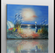 canvas new handmade home decor seaside sailing oil painting