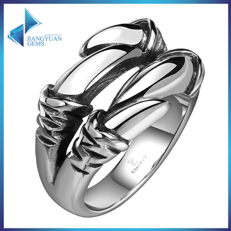 paw shape spikes stainless steel ring