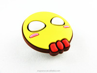 Yellow face with white eyes and red ribbon picture file clip in PVC material