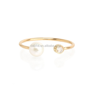 Cheap goods from china size 5-11 new products durable gold plated diamond ring with pearl
