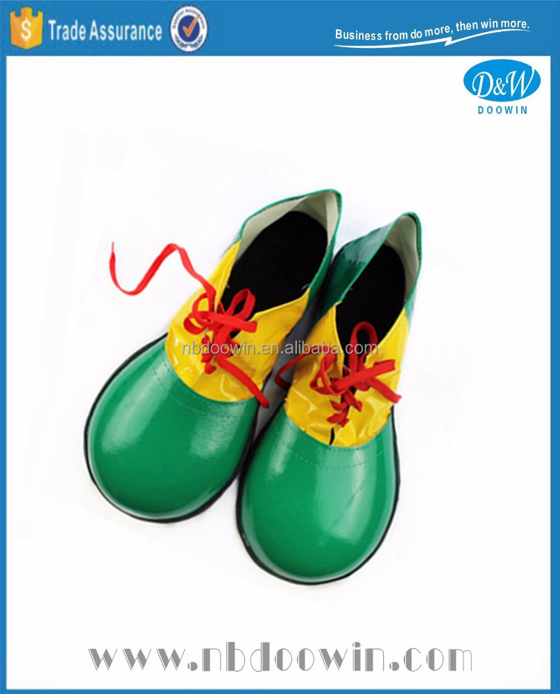 Plastic green yellow color clown shoes for Carnival/Party