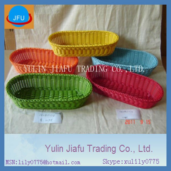 Long oval handmade weaving plastic bread storage basket