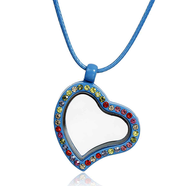 Rhinestone Peacock Blue Heart Pendant Floating Living Memory Glass Locket Necklace