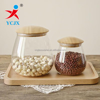 MUSHROOM SHAPE CLEAR BOROSILICATE GLASS STORAGE JAR WITH BAMBOO LIDS