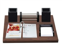 Promotional Wooden Calendar Stand , handmade calendar with calendar printing double pen pot