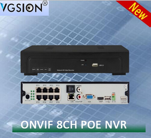 8 CHANNEL 1080P POE Network Video Recorder dvr h 264 POE NVR