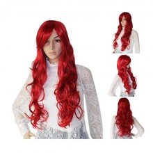 Girl Wine Red Full Long Curly Wavy Hair Wig Wigs 70cm Cosplay Stylish