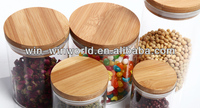 Airtight Bamboo Cover 1 L Borosilicate Glass Food Storage Container
