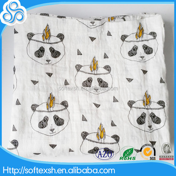 Double layers design China hot selling oragnic cotton muslin baby swaddle blanket