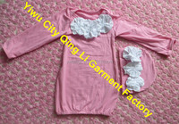 Newborn Girl Take Home Outfit Couture Pink Layette Sleeper Gown & Matching Beanie with White Flowers Baby Shower