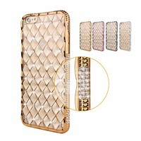 High-end Electroplating 3D Diamond Back Cover Transparent TPU Phone Case For Iphone 6 Plus