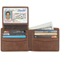Trifold Leather Wallets For Men With 2 id window holder rfid wallet for men Black Wallet