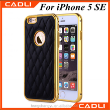 good quality electroplate bumper frame with pu leather cell phone case for iPhone 5 SE