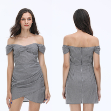 New women bodycon off shoulder plaid print sexy ladies mini dress for evening or party