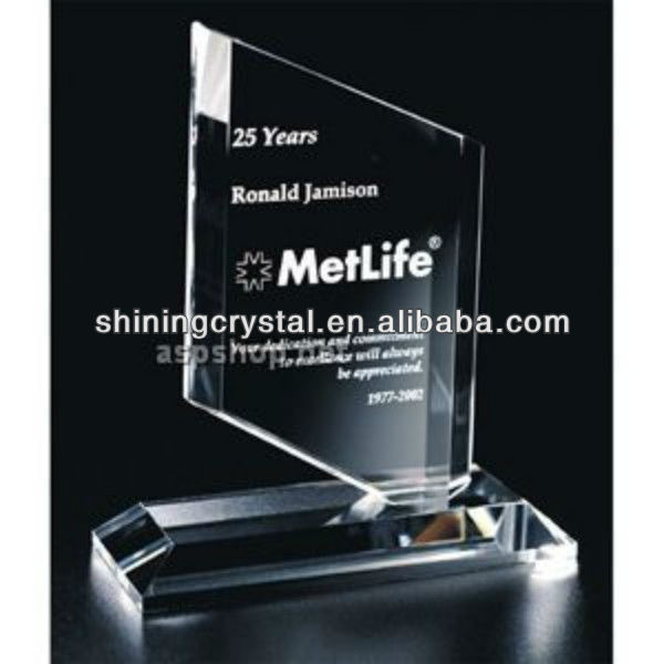 Wholesale crystal trophy Clear Glass Plaque in China