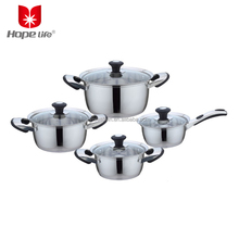 Portable Camping Kitchen Ware Stainless Steel 8PCS Cookware Set With Heat-insulated Handle