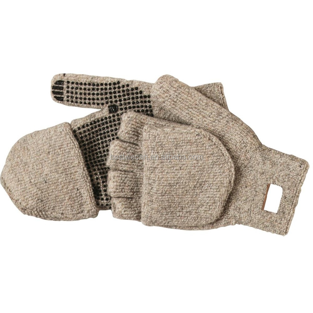 Extremely Cold weather insulated Ragg Wool Mitts Glove with Flap