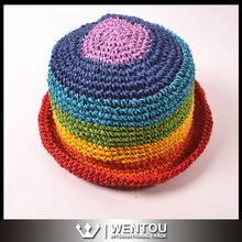 Wholesale Organic Raffia Crochet Bright Rainbow Brimmed Sun Hat