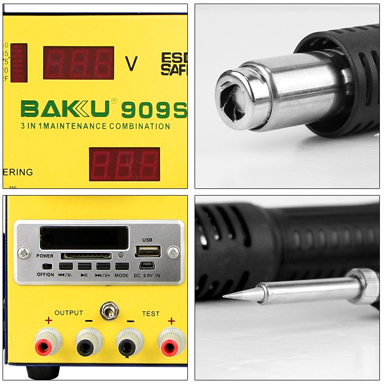 2016 BAKU new design BK-909S 3 in 1 rework station with 5V power supply LED type fan air supply digital soldering station