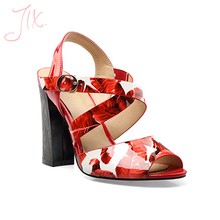 custom 2017 ladies high heel feminine sandals women cross strap hot red high heel sandals