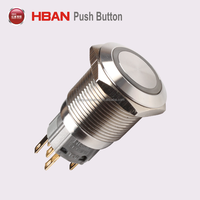 push button lock 19mm 16mm 12V waterproof momentary LED push button switch