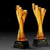 Direct sale 3d laser crystal glass award trophy cutting printed custom shaped acrylic awards