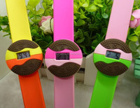 novelty biscuit silicone digital water resistant slap wristband watch with Oreo design